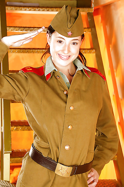 Stupendous babe in army..