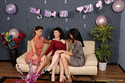 Three dressed up babes get..