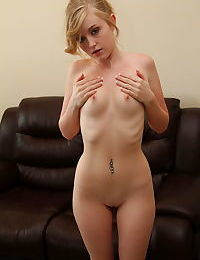 Shy blonde Mandy Roe strips out her clothes and exposes hot booty & tits