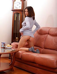 Bored Divina A undressing to lounge nude in front of the television