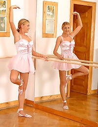 Lovely European teen babe is getting fucked with her ballet skirt up