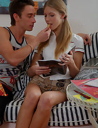 Young Anjelica in pigtails seduced into riding her stepbrothers hard cock