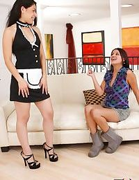 Blonde mature and Latina stepdaughter try a lesbian threesome with Asian maid
