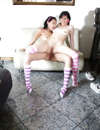 Brunette teen lesbians with tiny tits stripping and pleasuring each other